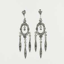 sterling silver and marcasite chandelier earrings