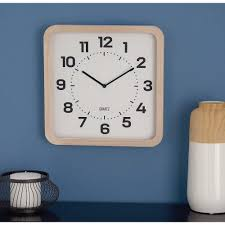 classic brown and white square table clock