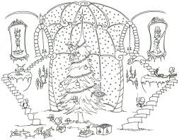 coloring pages: monkeys decorating a christmas tree (with help ...