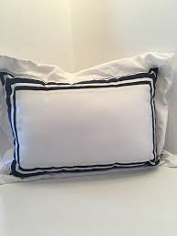 blue white decorative pillow shabby