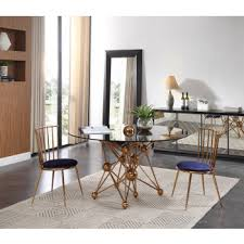 modern dining room furniture. Brilliant Room Modrest Brenna Modern Smoked Glass U0026 Rosegold Round Dining Table Throughout Room Furniture