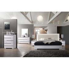 Athen Modern Eastern King White Lacquer Bed Dresser Mirror Nightstand 4pcs Set Bedroom Furniture