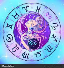 знак зодиака водолей красивая девушка гороскоп астрология вектор