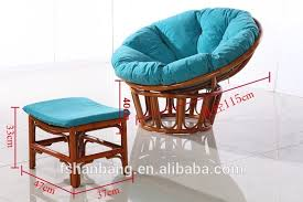 round large natural rattan wicker cane wood plush sleeping relax lounge bowl saucer chair with