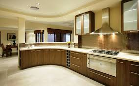 modular kitchen colors:  nice design ideas of modular small kitchen with brown color wooden kitchen cabinets and silver color