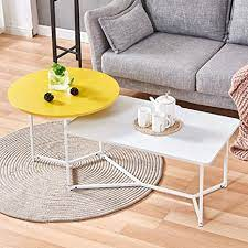 I had seen a coffee table at a high end furniture store and loved it, but the price was way out of my range. Amazon Com 2 Tier Coffee Table Round Square Sofa Side Table Modern Living Room Center Table With Metal Frame White Yellow Kitchen Dining