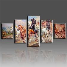 unframed 5 panels horse canvas print painting modern running horse cuadros decorativos canvas wall art for