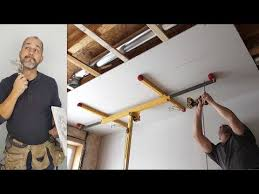 how to install ceiling drywall using a