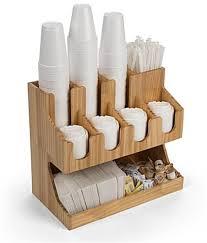 three tier wood coffee condiment station organizer