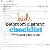 Bathroom Chart For Kids Kids Printable Bathroom Cleaning Checklist