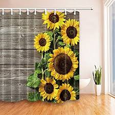 NYMB Plants Theme Sunflower on the Wooden Shower Curtain in Bath 69X70  inches Mildew Resistant Polyester