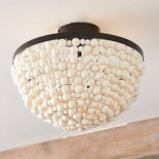 yasmin white wood beads ceiling mount