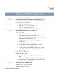 Procurement Specialist Resume Absolute Cosy Resumes For Sample And