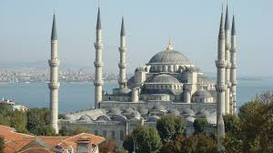 for the love of allah and his prophet blue mosque in istanbul sea of marmara in background