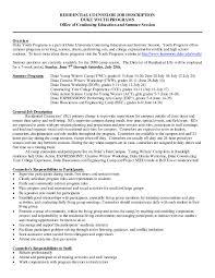 Residential Counselor Resume Resume Cover Letter