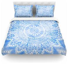 nika martinez boho flower mandala in blue duvet cover queen contemporary duvet