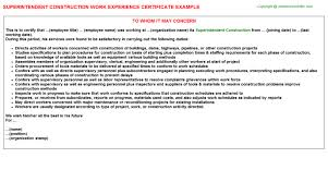 Accountant Construction Work Experience Certificates Experience