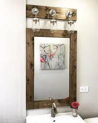 farmhouse bathroom set mirror dark walnut vanity mirror with light fixture galvanized pipe vanity light bathroom decor bathroom set