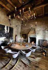fascinating dining room with rustic interior design of table also wrought iron chandeliers