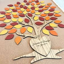 autumn colours personalised wooden wedding tree guestbook pretty personalised