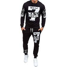 Shirts With Pants Elogoog New Mens Fashion Crewneck Sweatshirt Shirts Pants Sets Letter Hipster Mens Printed Tracksuit