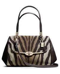 COACH MADISON SMALL MADELINE EAST WEST SATCHEL IN ZEBRA PRINT FABRIC - Coach  Handbags -