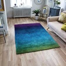 rio purple blue green rug