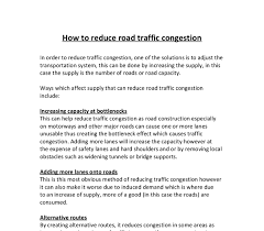 how to reduce traffic congestion gcse geography marked by  document image preview