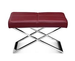 wine red leather ottoman