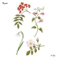 3083 руб 25 скидкаwyuen цветы водонепроницаемые временные тату наклейки для