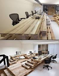 Office Furniture Interior Design Custom Creative Office Furniture Made From Wooden Pallets TechEBlog