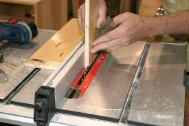 dado joint table saw. the rabbets are cut into outside edge and pieces must be held perpendicular to table saw face. dado joint