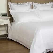 chiné lace duvet cover set in white white by frette