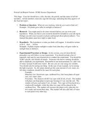Science Report Format Formal Lab Report Format Fchs Science Department Title Page