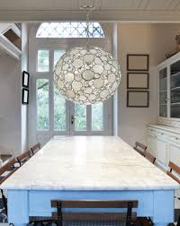 round shape capiz shell chandelier for dining room lighting ideas