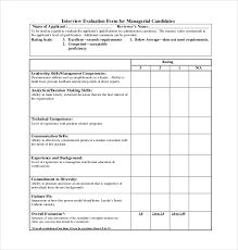interview assessment form template 12 sample interview assessment forms sample forms
