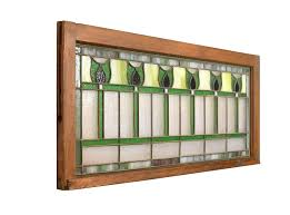 transom windows for arts and crafts purple and green tulip flower stained glass transom window