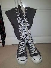 converse knee high boots. genuine converse knee high grey boots - size 7 very good condition