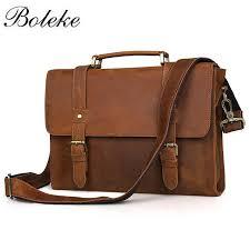 brand men crazy horse genuine leather messenger shoulder bag vintage casual handmade handbag 13 inch laptop briefcase 6076 men briefcase best briefcases