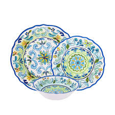 Melamine Dinnerware Designs First Design Global Dns0819 Decorative Vintage Floral 12 Piece Melamine Dinnerware Unique Dish Set For Parties Or Everyday Use Service For 4