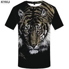 <b>KYKU Brand Tiger</b> T shirt Men Gothic T shirts Anime Black Tshirt 3d ...