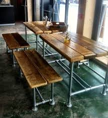 industrial kitchen table furniture. Interesting Table Large Reclaimed Scaffold Dining Table And Benches Industrialdiningroom In Industrial Kitchen Furniture N