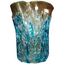 blown glass vase vintage blue