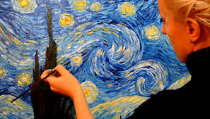 how to draw painting with landscape starry night of van gogh