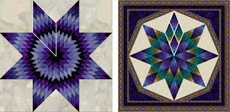 Tips & Lessons > Fragmenting: A Quilt Design from a Single Block & In the traditional lone star design (right) the colors radiate out from the  center with each round of color the same in each diamond unit. Adamdwight.com