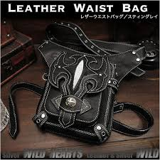 cowhide leather waist bag pack drop leg bag medicine bag stingray wild hearts leather silver id wb3547t2