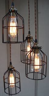industrial cage lighting. Upcycled Industrial Cage Hanging Pendant Light. Lighting