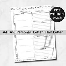 Week Planner With Times Weekly Plan Printable Week Plan Weekly Planner Personal Half Letter A4 A5 Inserts Printable Weekly Planner Week On One Page