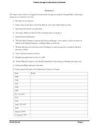 Freedom Struggle of India -Revision Worksheets