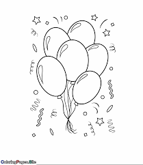 Birthday Balloons Coloring Page Happy Birthday Coloring